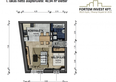 Értékesítési alaprajz 1 lakás