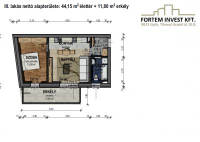 Értékesítési alaprajz 3 lakás